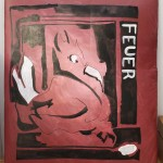Feuervogel. 50 x 40 cm, Acryl/Tusche auf Daunensteppdecke.